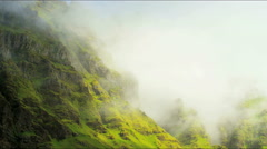 Iceland mountain mist Eco tourism Rock Cliffs travel Stock Footage