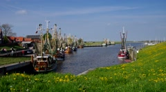 Greetsiel in northern Germany, the harbour Stock Footage