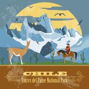 Chile landmarks. Retro styled image. - stock illustration