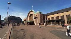 Railway station in Helsinki. 4K. Stock Footage