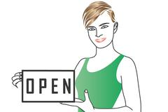 A girl holds a sign saying open. Stock Illustration