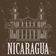 Nicaragua  landmarks. Retro styled image. Stock Illustration