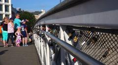 Love lock on a bridge in Helsinki. 4K. Stock Footage