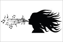 Sing woman silhouette - stock illustration