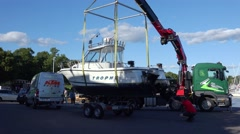 Loading a boat on a trailer. 4K. Stock Footage