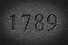 Engraved Historical Year 1789 - stock photo