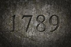 Engraved Historical Year 1789 Stock Photos