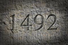 Stock Photo of Engraved Historical Year 1492
