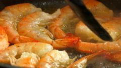 Appetising shrimps while cooking in a stove - close-up shot 1 Stock Footage