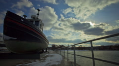 Docked boat in Winter Time-lapse, Traverse City, Michigan Stock Footage