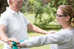Active senior marriage improving condition Stock Photos