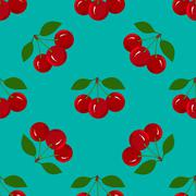 Stock Illustration of Seamless Pattern with Juicy Ripe Cherry Fruit
