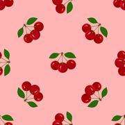 Seamless Pattern with Juicy Ripe Cherry Fruit Stock Illustration