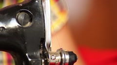 Detail of hand-operated sewing machine - stock footage