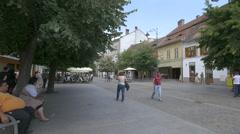 Outdoor restaurants on Nicolae Balcescu Street, Sibiu Stock Footage