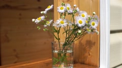 A small bouquet of white flowers standing on the window sill of a country house Stock Footage