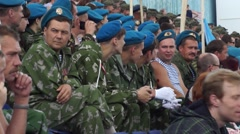 People and military people at the celebration Day of the Airborne Forces - stock footage