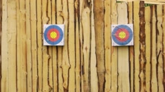 Stock Video Footage of Two paper target on a wooden wall for archery