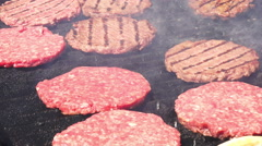 Burger shop - food meat - burgers on bbq barbecue grill Stock Footage