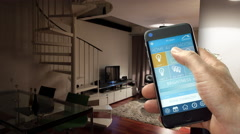 Smart home App on Smart Phone Stock Footage