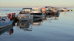 Olhao Recreational Boat Marina seascape at Morning Stock Footage