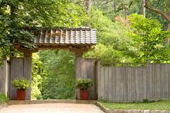 Japanese Pagoda Garden Gate Stock Photos