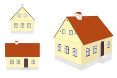 European traditional countryside house: different views - stock illustration
