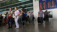 Passangers in Saigon airport Stock Footage