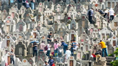 Stock Video Footage of Time Lapse of Crowded Hong Kong Hillside Cemetery