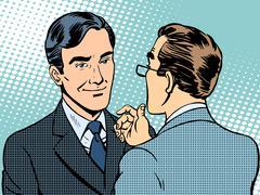 Dialogue conversation businessmen - stock illustration