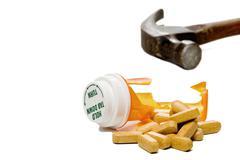 Smashed Pill Bottle - stock photo