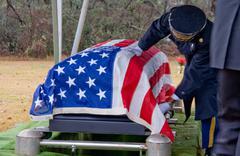 Flag Draped Coffin Stock Photos