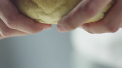 Hands Tearing off White Bread - stock footage