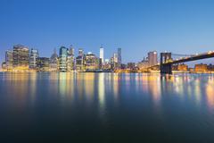 View of New York City Manhattan midtown at dusk - stock photo