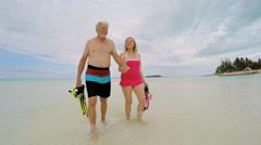 Caucasian seniors in swimwear carrying snorkeling equipment on beach - stock footage