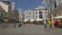 Relaxing on Nicolae Balcescu Street in Sibiu Stock Footage
