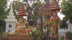 Buddha statues in Wat Si Saket monastery, Vientiane, Laos Stock Footage