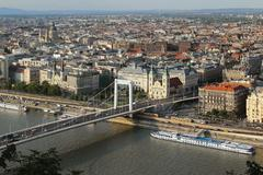 Cityscape view of Budapest with Elisabeth Bridge Stock Photos