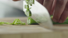 Professional Chef is Rapidly Chopping Spring Onion. Close-up. Stock Footage