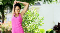 Young active African American girl training to keep fit - stock footage