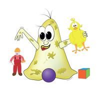 Bacteria is playing with toys Stock Illustration