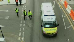 British Ambulance view from above Stock Footage