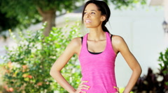 Portrait of active African American girl training outdoor - stock footage