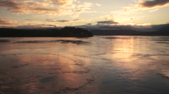 Ferry Ship Passes Along Vancouver Island Inside Passage Water Reflects Sunset - stock footage