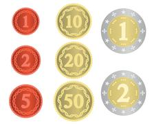 Imaginary collection of coins - stock illustration
