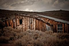 Bodie California Ghost Town Forgotten Building dramatic sky - stock photo