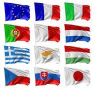 European and Japan flags on flagpole set - stock illustration
