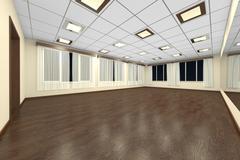 Empty training dance-hall at night with yellow walls, dark wooden parquet flo - stock illustration