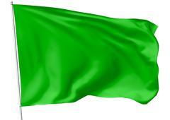 Green flag on flagpole - stock illustration