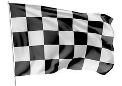 Checkered flag on flagpole - stock illustration